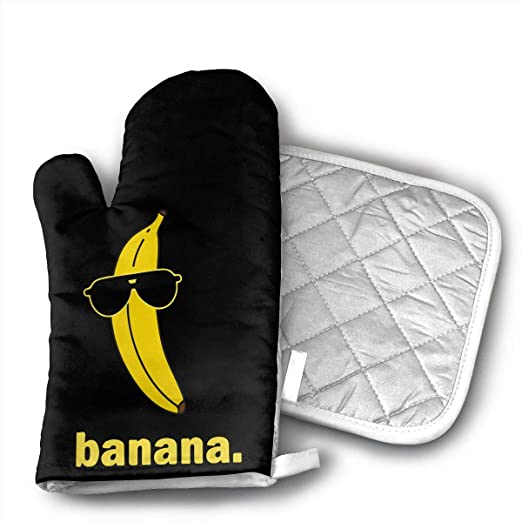 Cool Banana - Juego de manoplas para horno y soporte para ollas ...