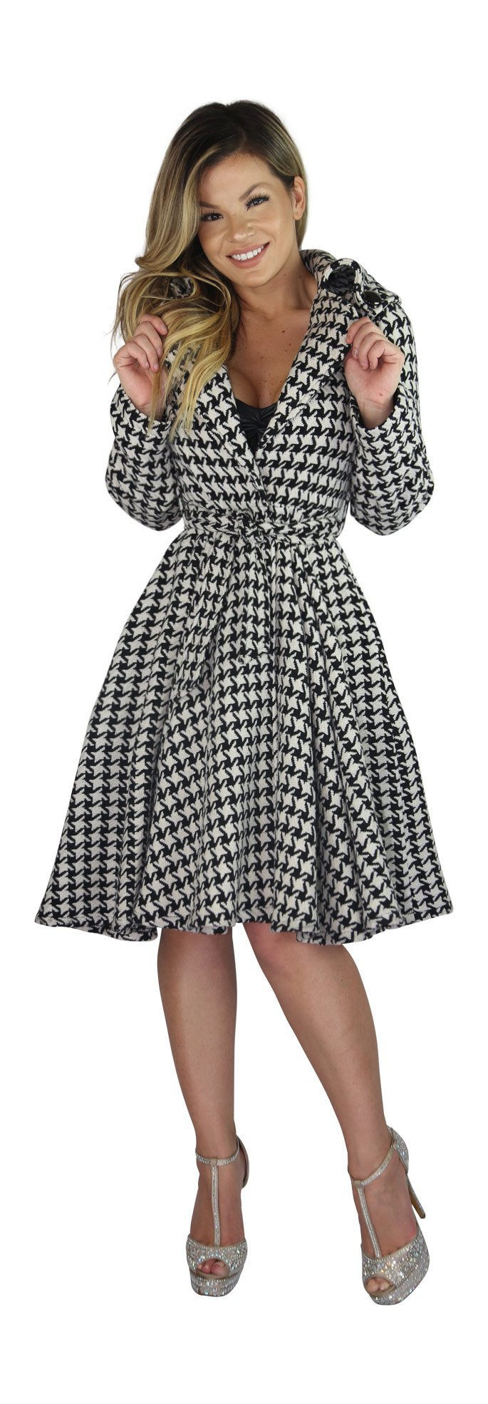 AB Butter Women's Hourglass Shape Classic Double Breasted Coat Peacoat Jacket Trendy Winter Fashion - Houndstooth