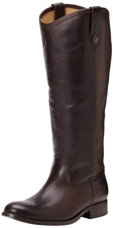 Dark Brown Wide Calf Smooth Vintage Leather Frye Women's Melissa Button Boot