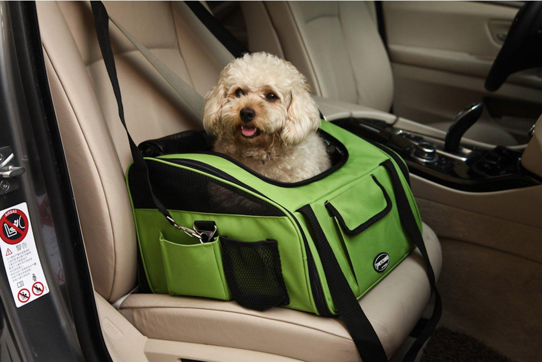 Plegable Portador de viaje del Asiento de coche para Mascotas Perros y Gatos, Verde: Amazon.es: Productos para mascotas