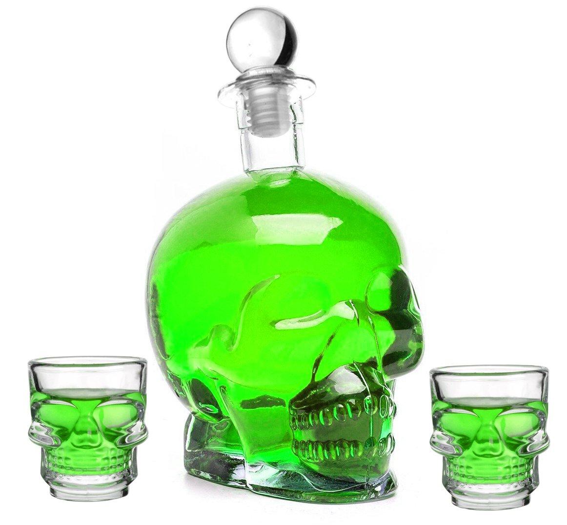 (1 Totenkopf & 2 Schnapsgläser ) 1 Leere Glasflasche 750 ml und 2 Gläser je 50 ml DICKES GLAS SET In Totenkopf-Form Flasche Pirat Skull Glasschädel 0, 75 Liter L Glas-Schädel Likörflaschen Whisky Karaffe Schnapsflasche Whiskyflasche Gläser Von Slkfacto