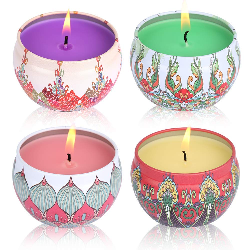 Jasmine, Grapefruit, Peach , Lotus Soy Candles Scented and Organic Candles Pretty Small Mini Massage Relaxing Travel Tin Aromatherapy Candles 4 Pack Laluztop Scented Candles Set
