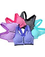 Y-BIN Women's Push Up Sexy Front Zipped Yoga Jogging Sports Bra