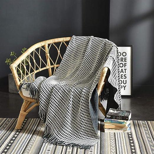 Nbibsaacy Manta Sofa Grande Algodón Tejer Elegante Manta de Punto ...