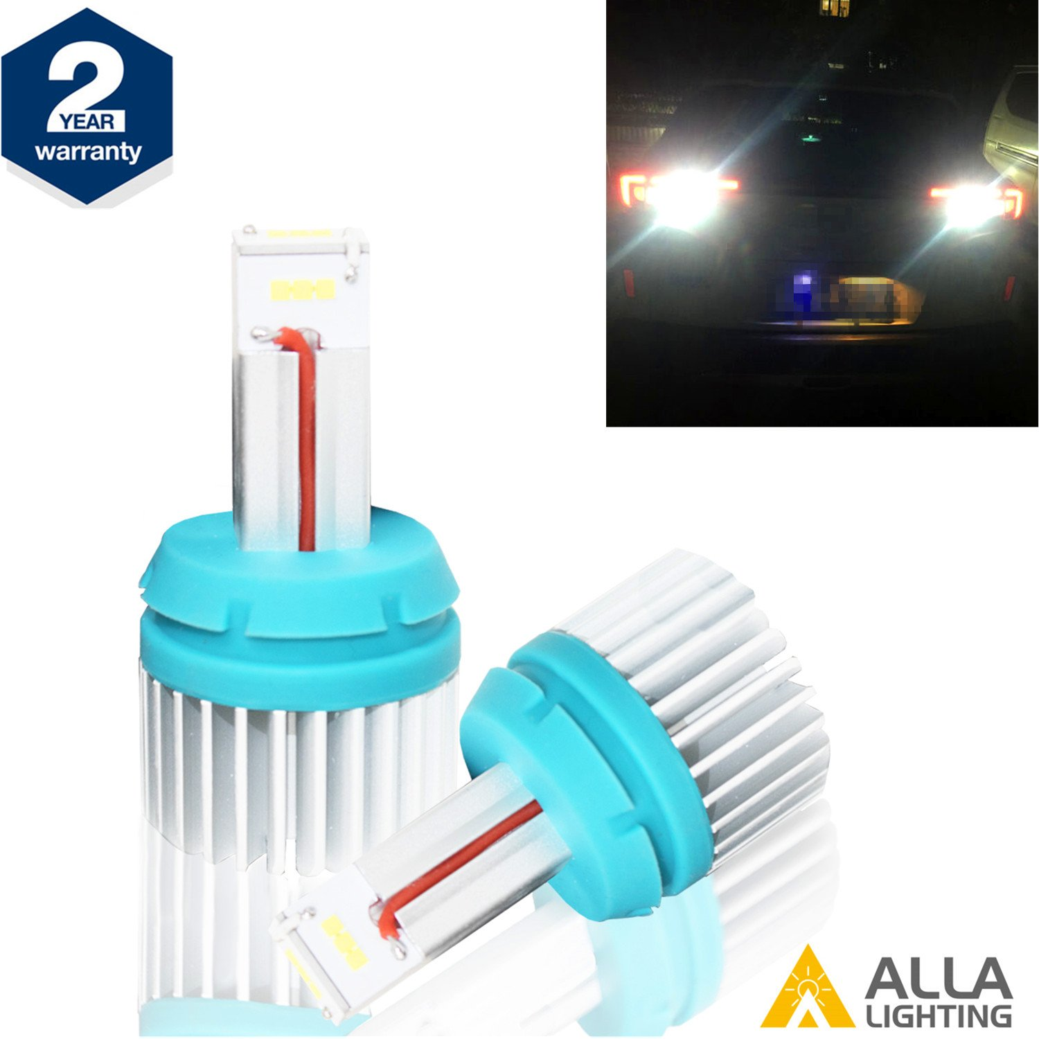 Alla Lighting Brightest 7443 7440 LED Back-Up Reverse Light Bulbs 2400Lm CANBUS 7440 LED Bulb T20 W21W LED Bulbs CSP SMD 7440 LED Back Up Reverse Light for Car Truck RV, 6000K Xenon White (Set of 2)