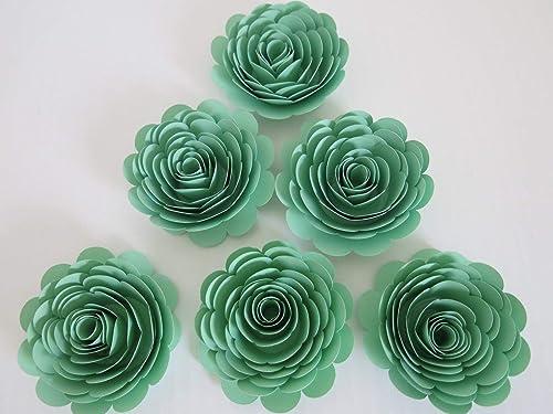 flower arrangement wall decor wedding paper roses flower bouquet Set of 10 Green Paper flower table decor anniversary gift