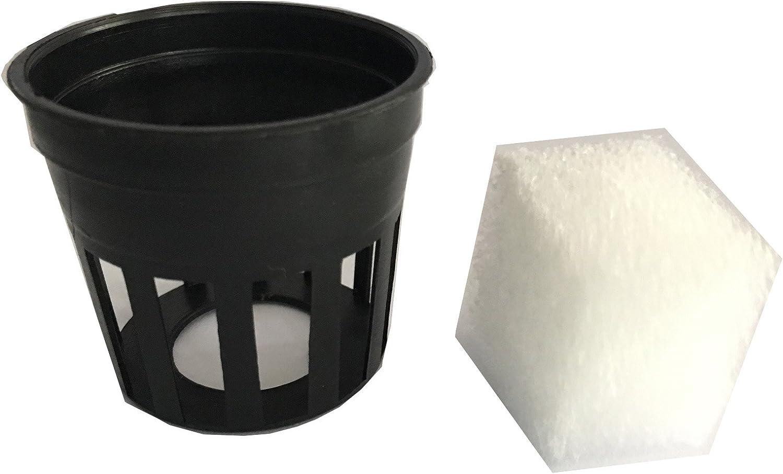 Garden Plastic Net Cups Pots with Sponge,Hydroponic Farm,Organic Gardening,Vegetable Garden Equipment(30Black Cup)
