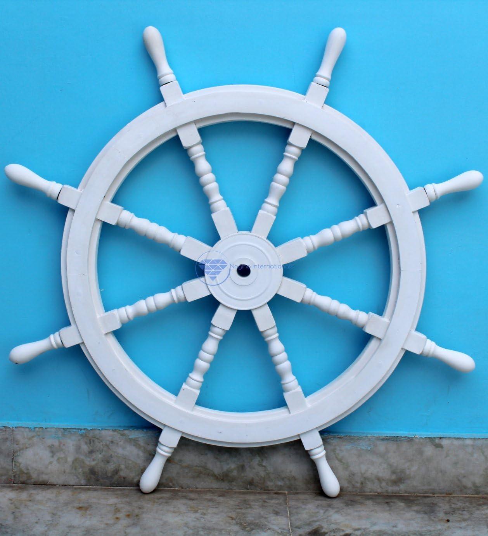 White Washed Ship Wheel Wood Ships Wheels//Wood Ship Steering Wheel//Nautical Home Decor Nagina International 30 Inches