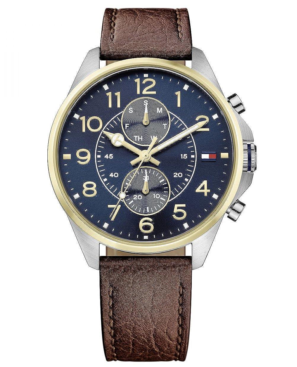 Reloj para hombre Tommy Hilfiger 1791275, mecanismo de cuarzo, diseño con varias esferas, correa de piel.