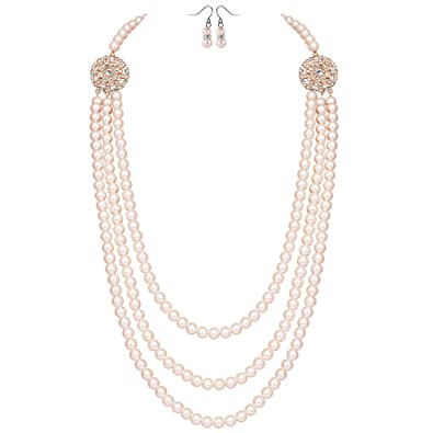 a9c8e4d13f5 Coucoland Coucoland Audrey Hepburn Inspired Pearl Necklace Earrings Set  1920s Gatsby Imitation Pearls Necklace with Crystal