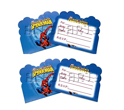 Astra Gourmet Spiderman Invitations Birthday Party Cards 12 Invite Card For Girls Boys Birthdays Kids Party Spiderman Themed Baby Shower