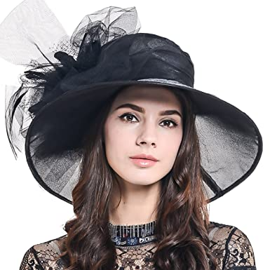 5eb42481d43 Ladies Kentucky Derby Church Hat Wide Brim Leaf Flower Bridal Dress Hat  s037 (Sheer-