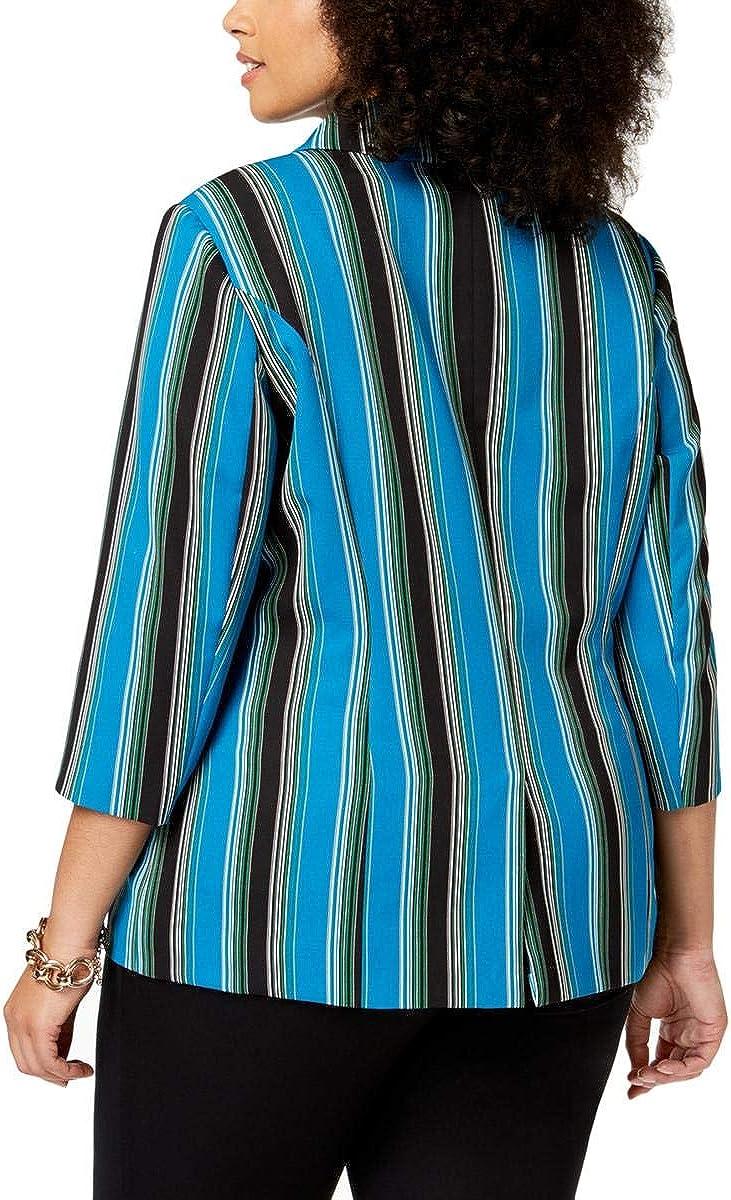 INC Womens Plus Striped 3//4 Sleeves Blazer
