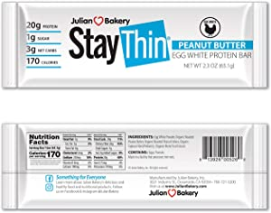 Julian Bakery Stay Thin Protein Bar | Peanut Butter Egg White | Certified Organic | Egg White | 20g Protein | 3 Net Carbs | 12 Bars