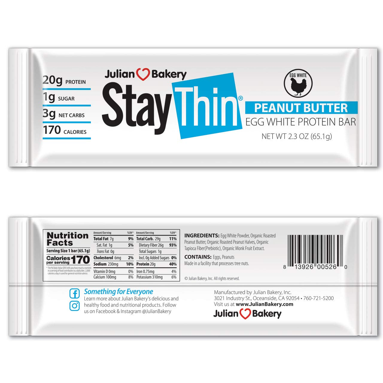 Stay Thin® Protein Bar (Organic Peanut Butter) (170 Cal)(20g Protein)(Egg White)(3 Net Carbs)(4 Ingredients)(1g Sugar)(12 Gluten-Free Bars) by Julian Bakery