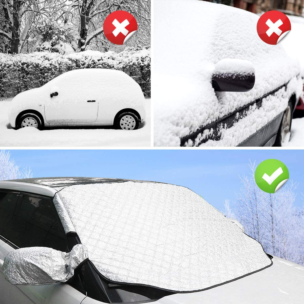 ROCONTRIP Car Windscreen Frost Protection Windscreen Cover Protector Waterproof Anti-Frost Snow Sun Protection