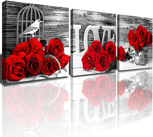Red Rose Wall Art Bedroom Wall Decor Ruby Floral Canvas Prints