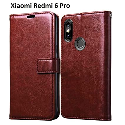new arrival 40030 fe133 MOBICLONICS Leather Dairy Flip Cover for Xiaomi Redmi 6 Pro-Brown