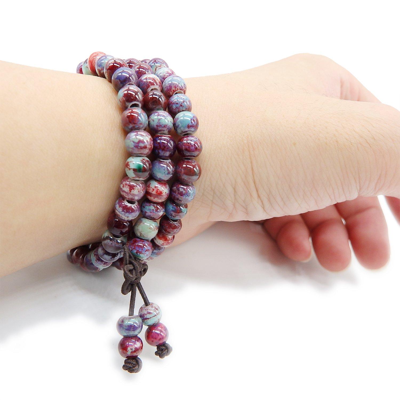 ALoveSoul 108 Buddhist Prayer Mala Porcelain Glossy Beads Handmade Religious Bracelet TCSL0012