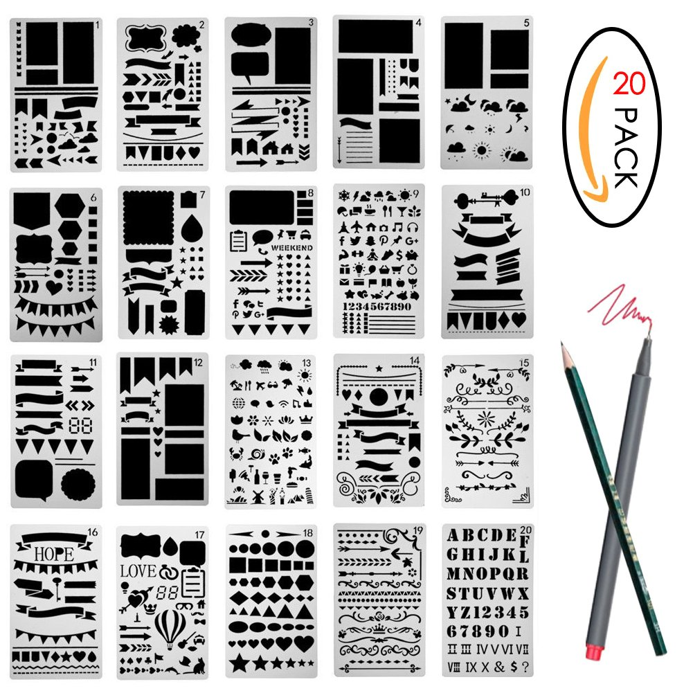 12 Pcs Bullet Journal Stencils Set Plastic Template DIY Drawing Planner Accessories for Diary Scrapbook Craft Notebook