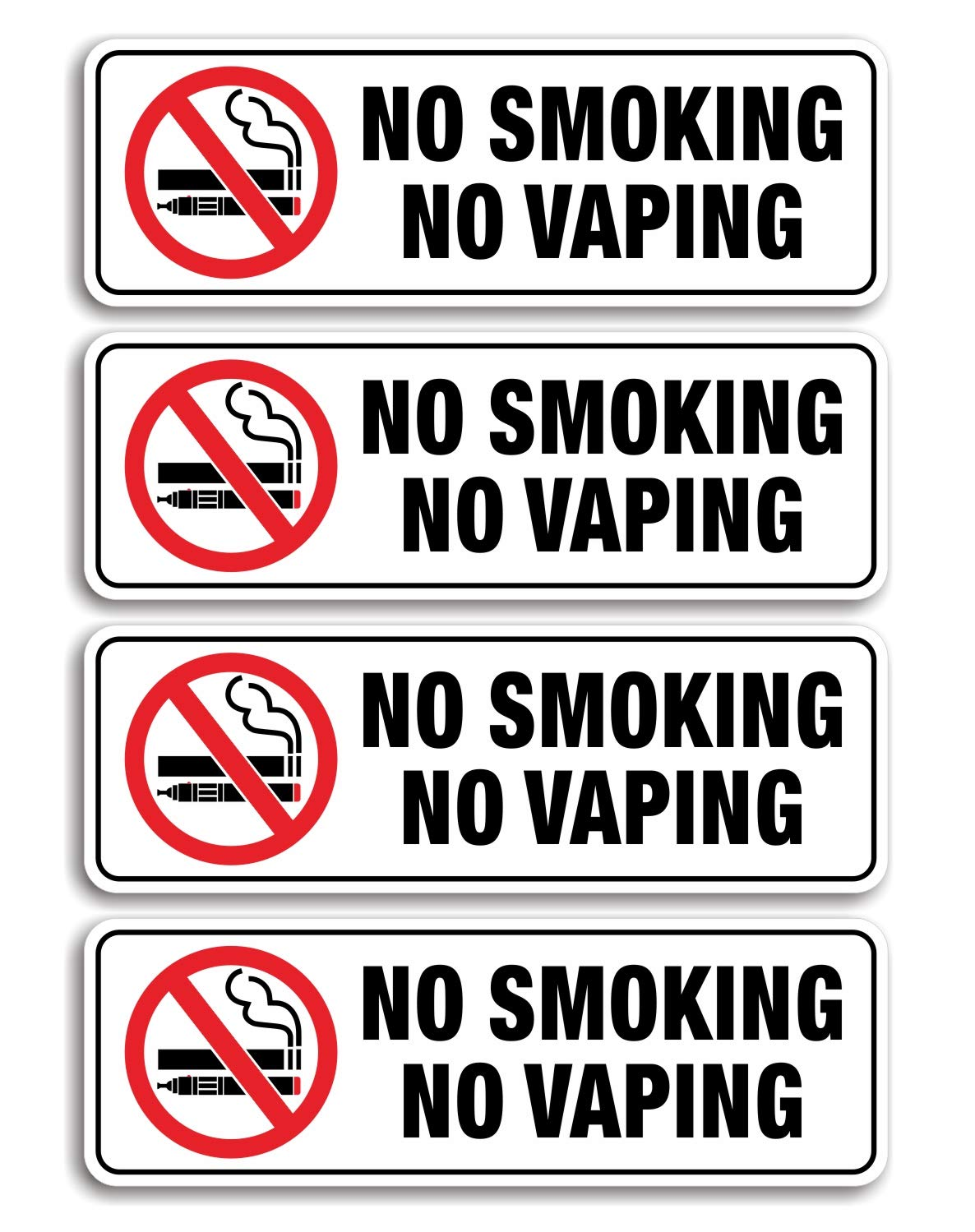 No Smoking No Vaping Sign, (4 Pack) 9 X 3 Inch, Self-Adhesive, Use for Home Office/Business, Easy to Apply, Black Big Letters on White Plate