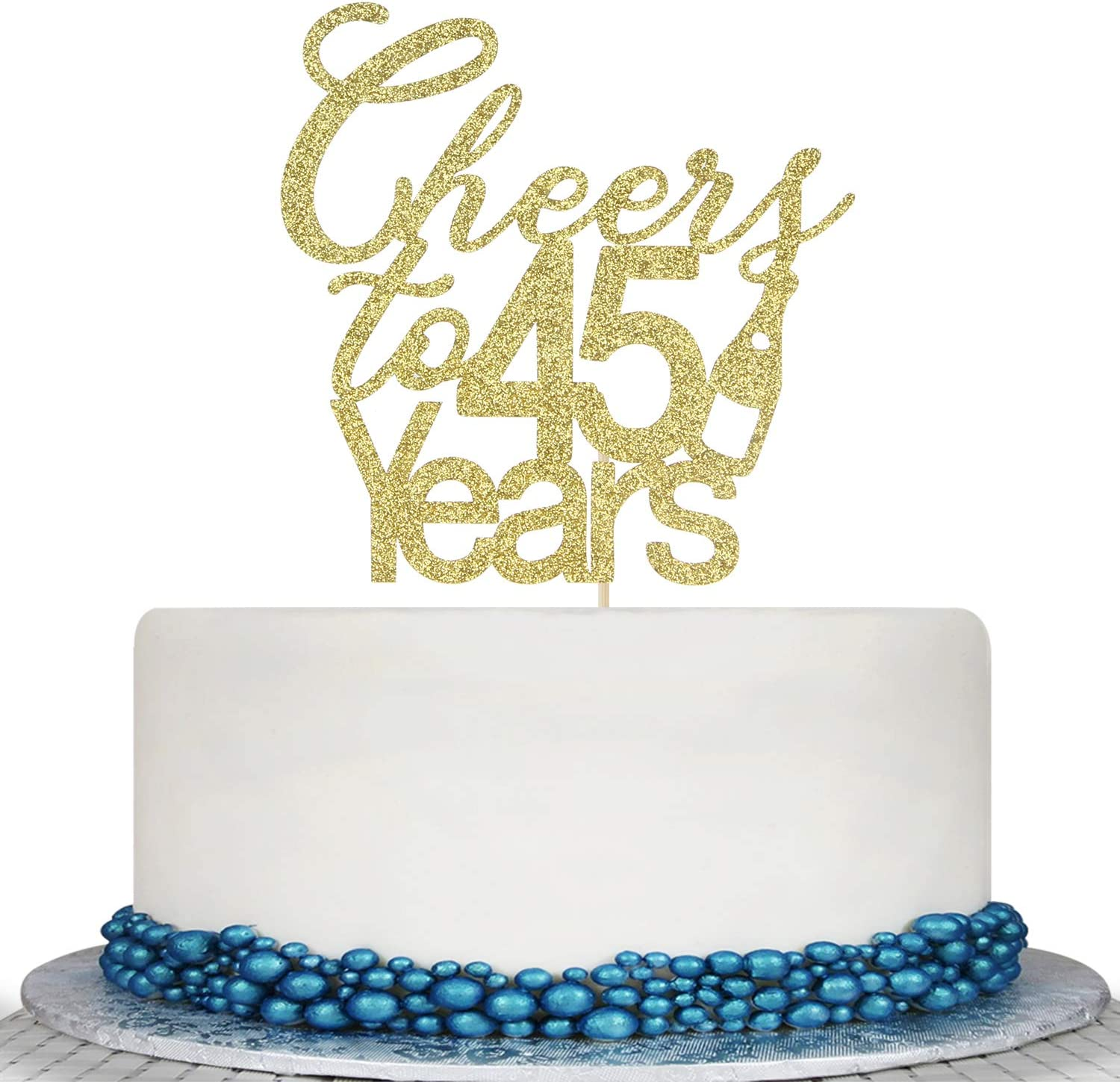 Glitter Cheers to 45 Years Cake Topper - 45th Birthday Wedding Anniversary Cake Topper -Happy 45th Birthday or Vow Renewal Party Decoration Supply Ideas
