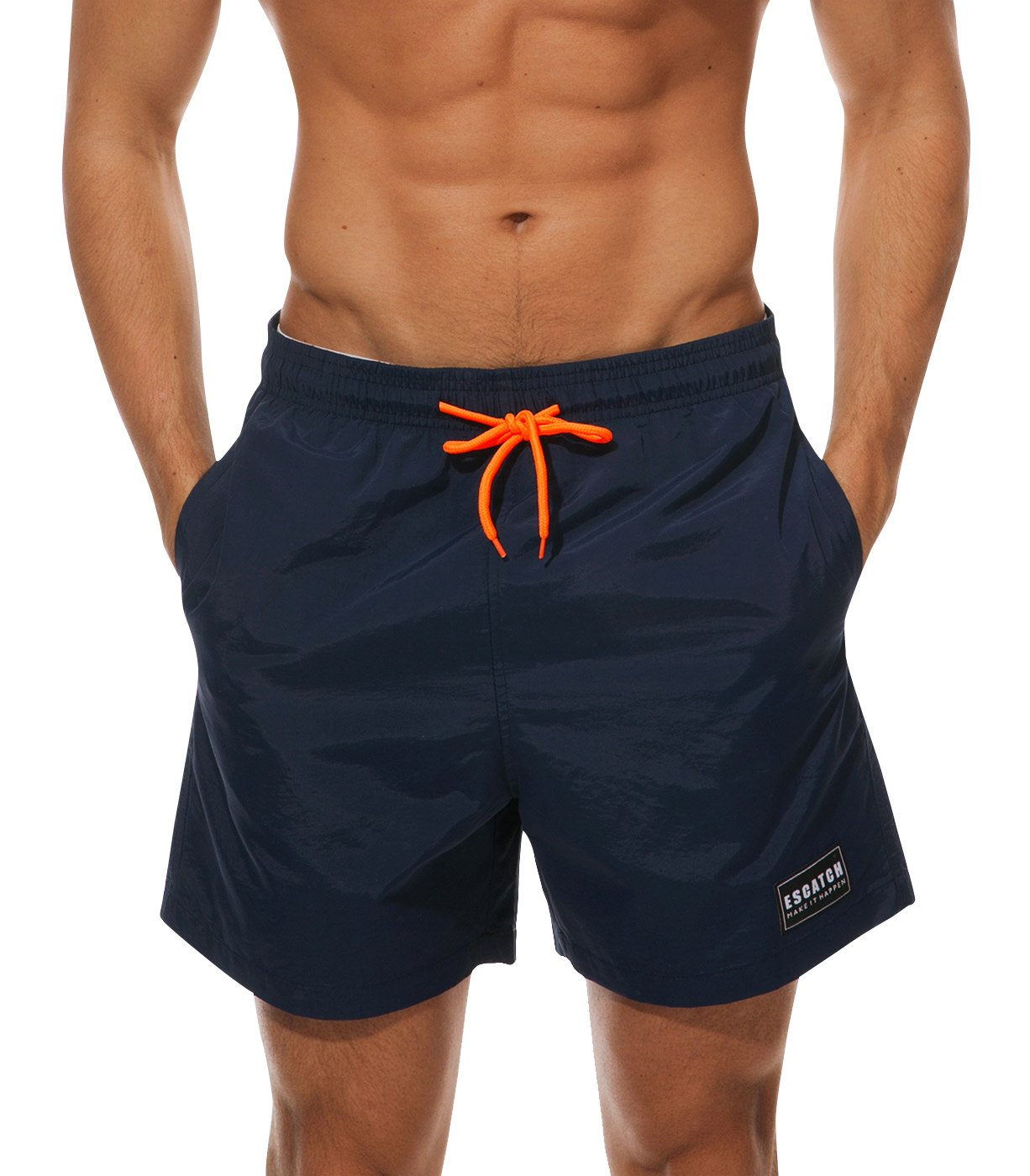 ESCATCH Big Boys Swim Trunks Slim Fit Quick Dry Elastic Waist Blue Men's Swim Trunks Quick Dry Bathing Suits Summer Swim Shorts