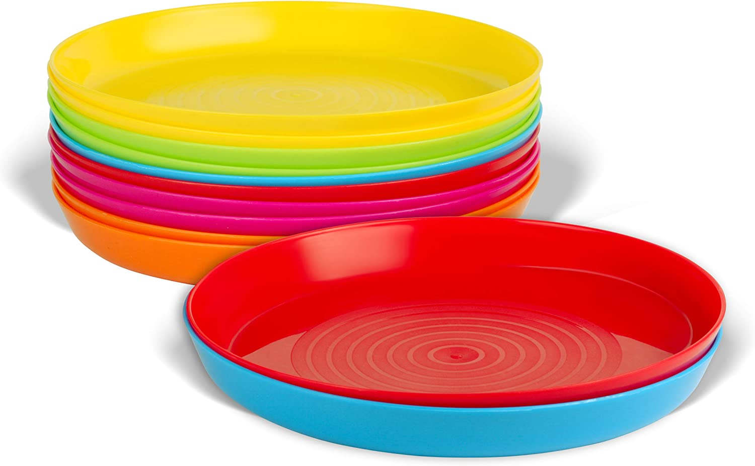 Plaskidy Kids Plastic Plates Set of 12 - Reusable Plastic Childrens Plates Microwave Dishwasher Safe - BPA Free Plastic Dinner Plates For Kids 6 Assorted Colors 7 Inch Kid Plates (2 of Each Color)