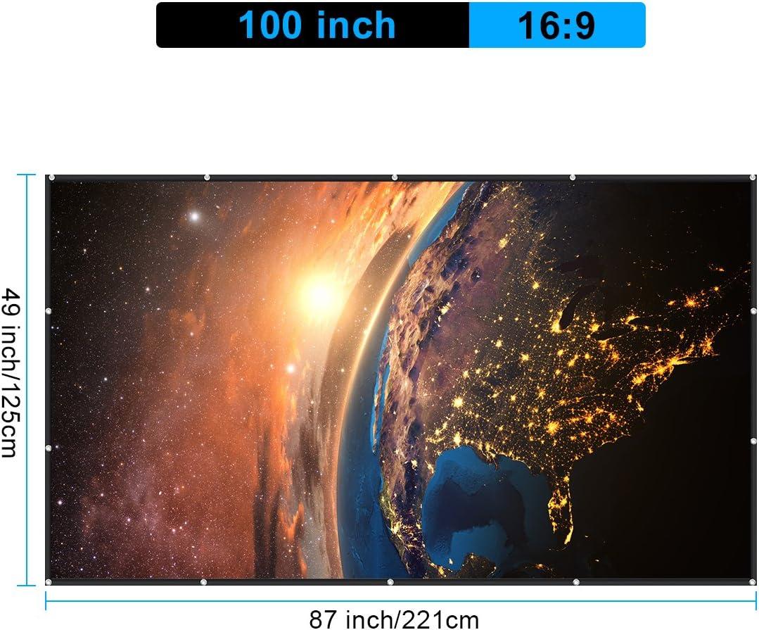 GLIME Pantalla de proyección 100 Pulgadas 227 x 131 cm 16: 9 ...