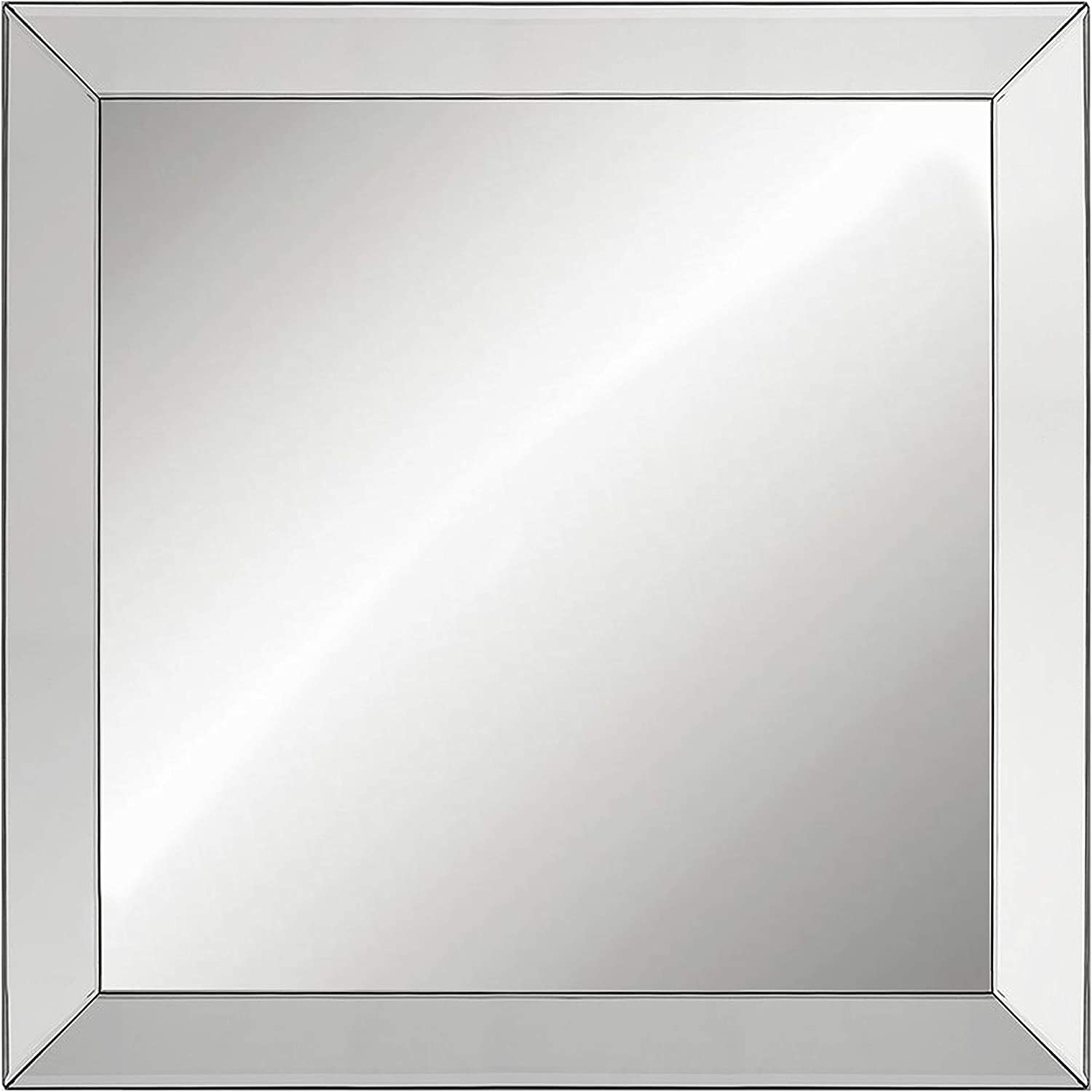 Amazon Com Large Elegant Framed Wall Mounted Mirror With Angled Beveled Mirror Frame Bathroom Vanity Mirror Bedroom Framed Mirror Square Wall Mirror Full Size About 26 5 X 26 5 Home Kitchen