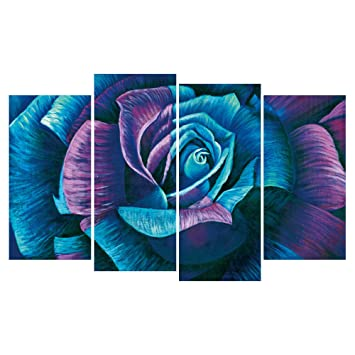 Amazon Geves 4 Panels Teal Purple Rose Wall Art Oil Painting