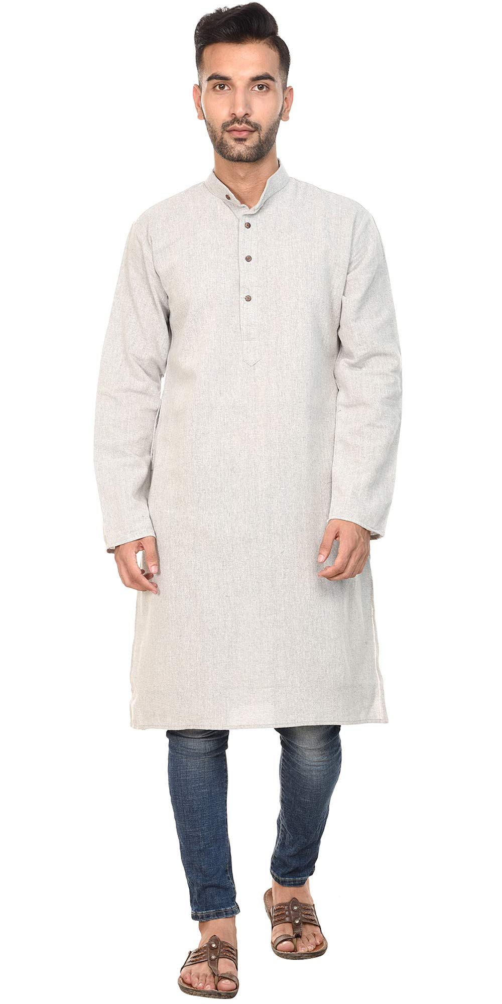 SKAVIJ Mens Shirt Kurta Long Sleeve Casual Button Down Cotton Long Kurta Dress Grey