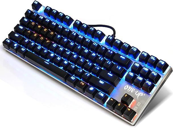 Teclado mecánico retroiluminado con los interruptores azules, alambre Anti-Ghosting Alloy Panel Gaming teclado con interfaz USB, negro