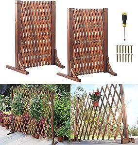 uyoyous 2 Pcs Garden Fence Wood Expanding Fence Gate Panel for Home Yard Garden Plant Climb Trellis partition Decorative