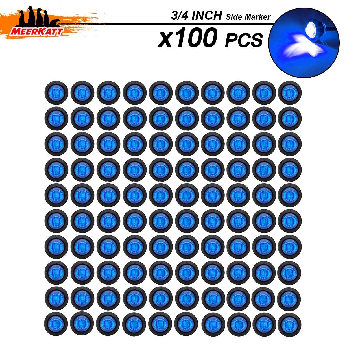 Meerkatt Pack of 100 3//4 Inch Mini Round Smoked Lens Blue LED Bullet Side Marker Indicator Light Clearance Lamp Waterproof Truck ATV Car Trailer Marine Bus RV black rubber grommets 12V DC Universal