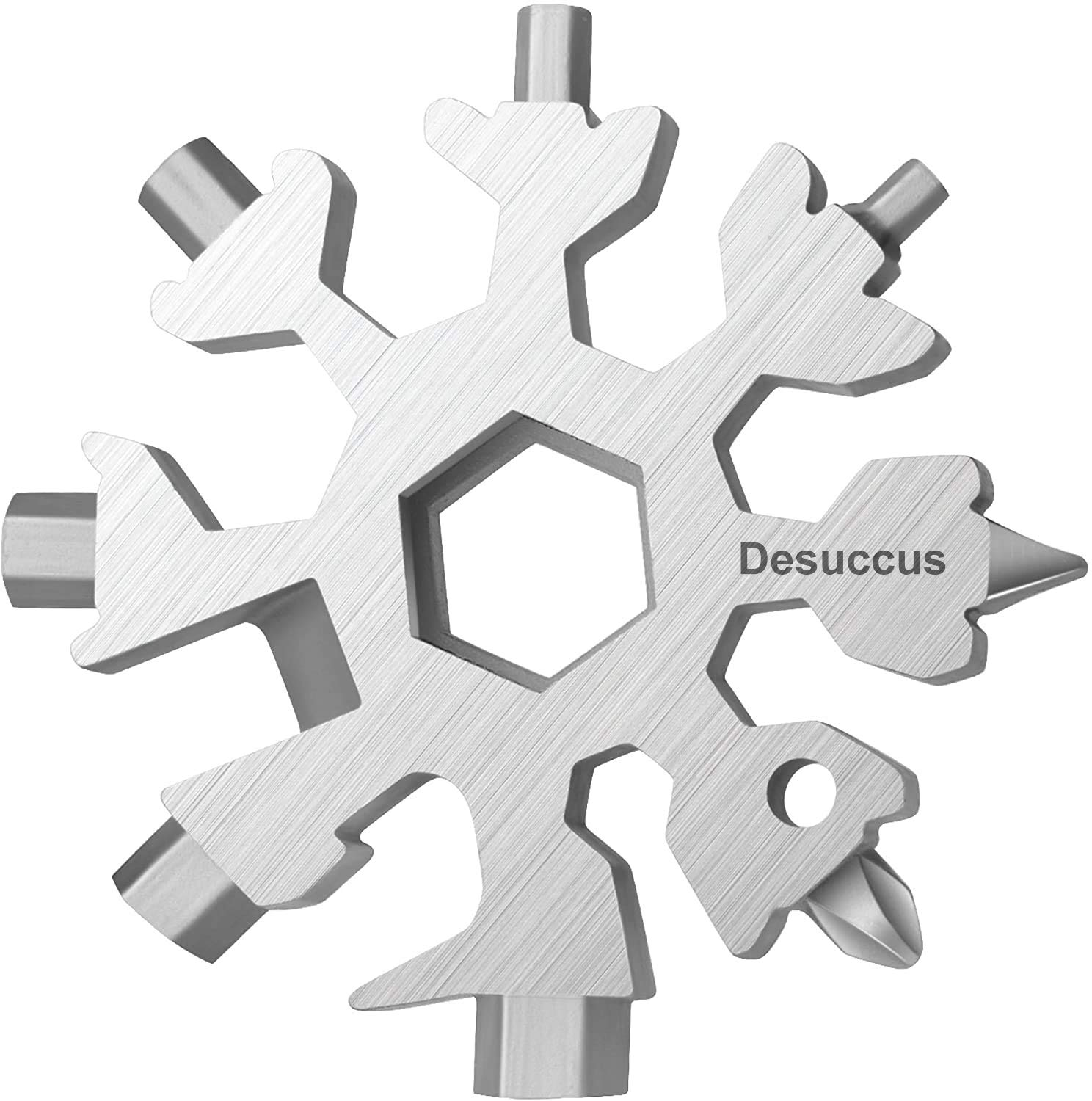 Desuccus 18-in-1 Snowflake Multi Tool, Stainless Steel Snowflake Bottle Opener/Flat Phillips Screwdriver Kit/Wrench, Durable and Portable to Take, Great Christmas gift(Standard, Stainless Steel).