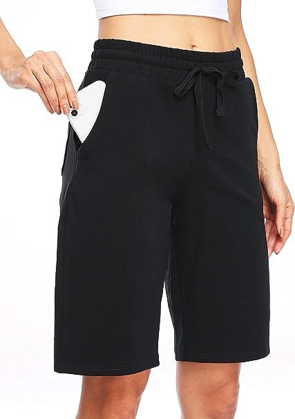 Nomolen Womens 10 Lounge Bermuda Shorts Cotton Workout Yoga Gym Athletic Running Activewear Sweat Long Shorts with Pockets
