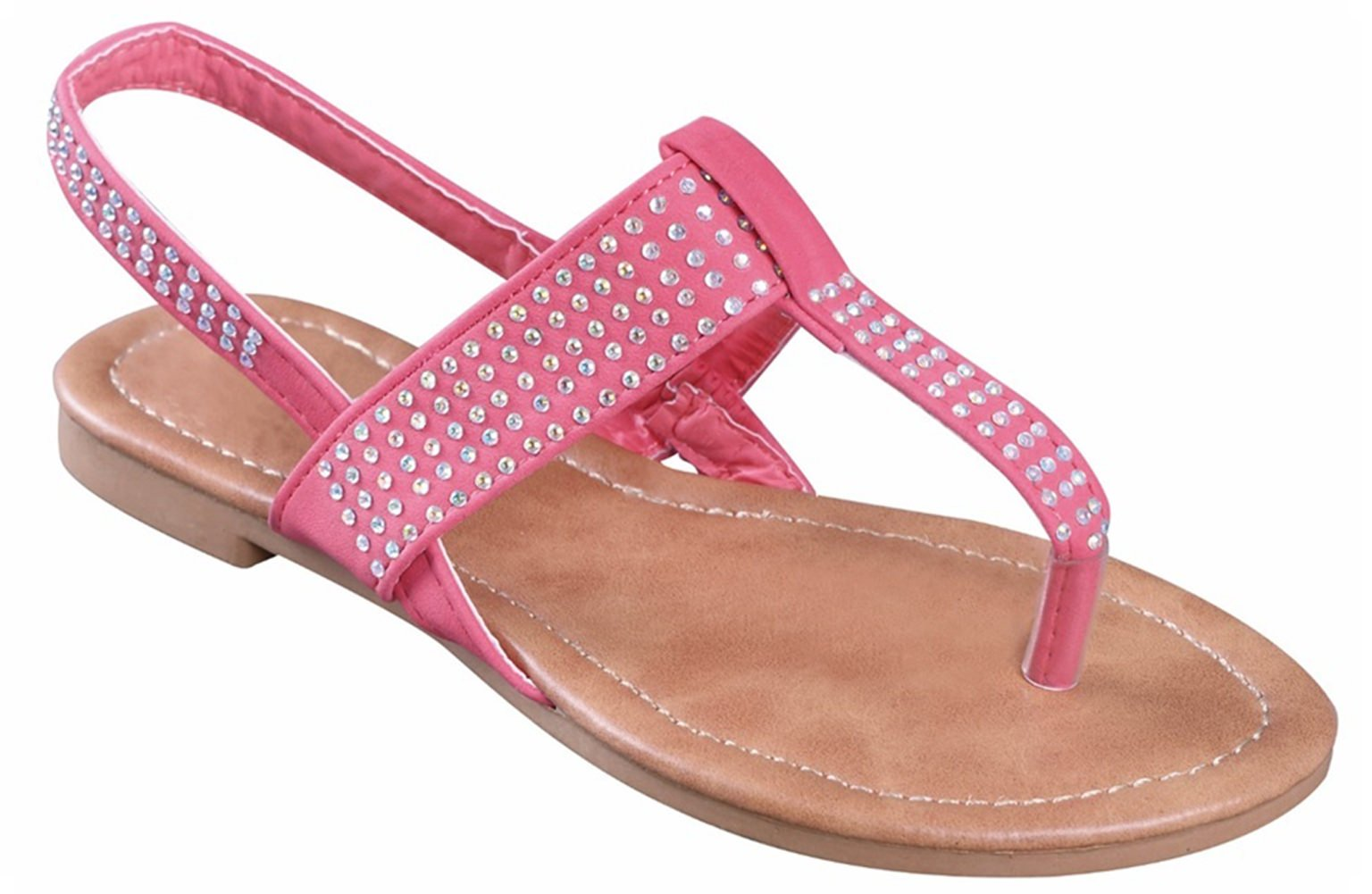 Best Coral Vegan Leather Slingback T Strap Sandal Cute Sweet Back to School Uniform Open Toe Easy Slipon Rhinestone Light Cushioned Dress Wedge Thong Summer Flat for Little Kid Girl (Size 13, Coral)