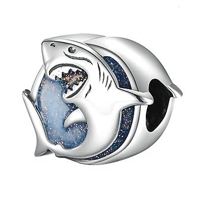 13c7b4d0d Image Unavailable Not Available For Color Lovans 925 Sterling Silver Shark  Charm Fit Pandora Bracelets