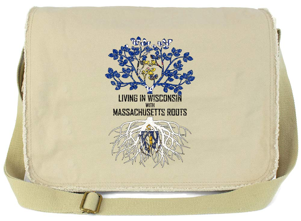 Tenacitee Living In Wisconsin with Massachusetts Roots Grey Brushed Canvas Messenger Bag