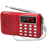 Retekess PR11 Portable AM/FM Transistor Radio with Mp3 Music Player Speaker Support Micro IF Card (Red)