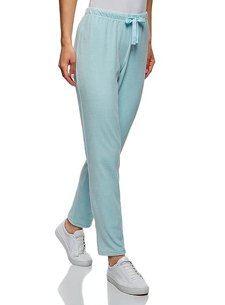 oodji Ultra Mujer Pantalones de Casa con Cinturón Elástico y Cordones   Amazon.es  Ropa y accesorios fe42d969549