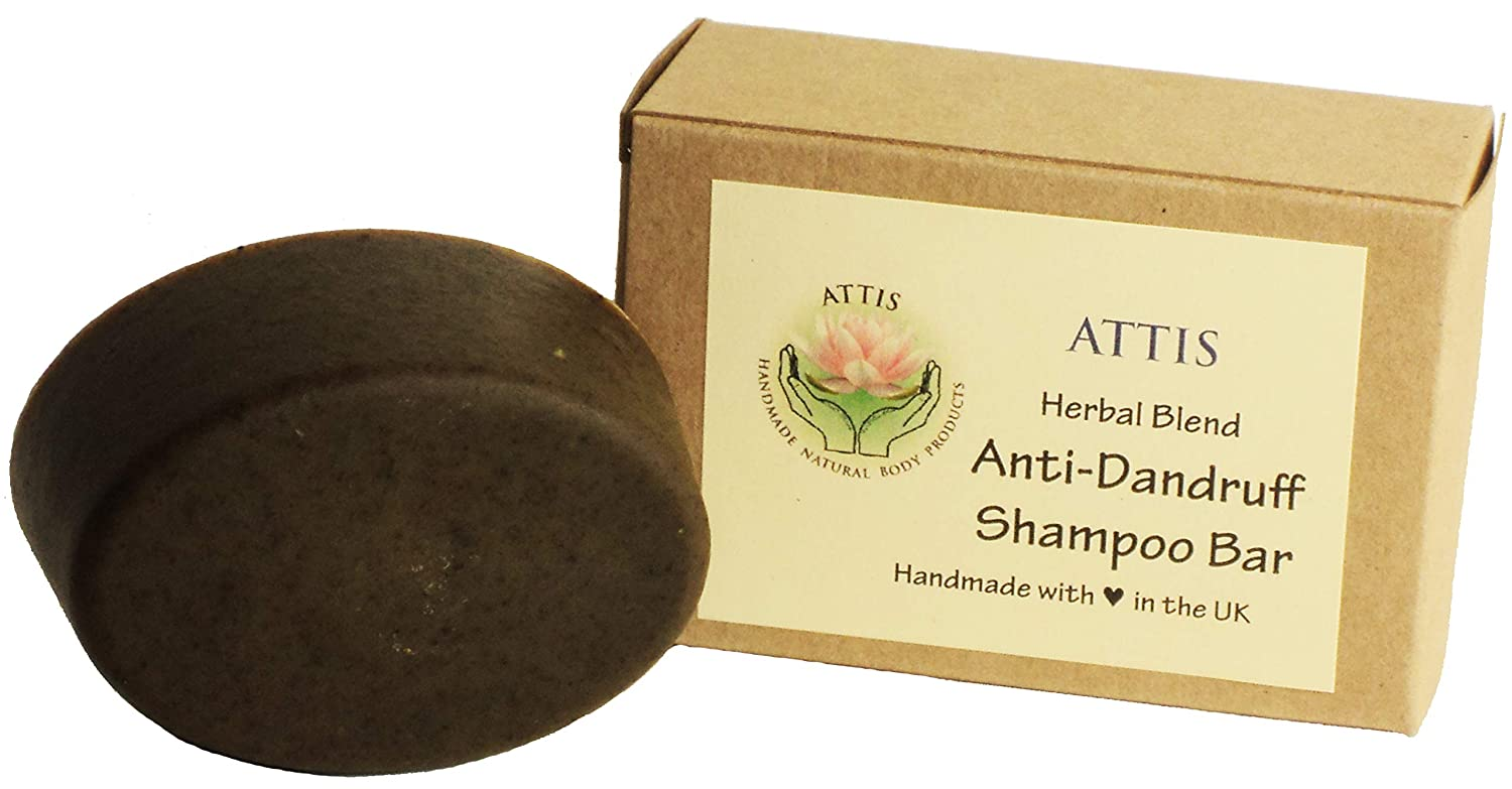 ATTIS Handmade Anti-Dandruff Herbal Blend Shampoo Bar | with Ginger root | Reetha | Shikakai | Patchouli & Eucalyptus Essential Oils | Amla | Sulfate Free | For Men & Women