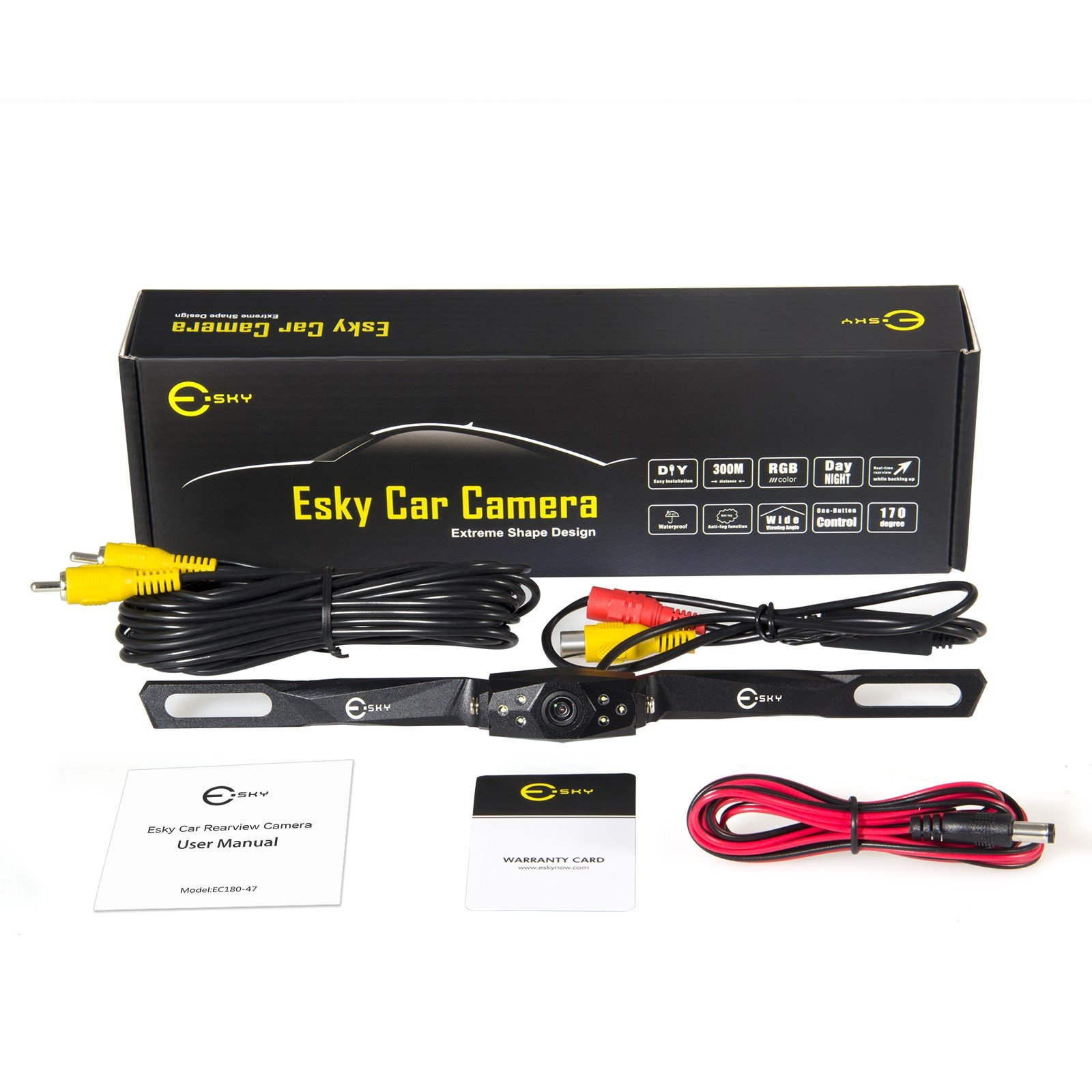 Esky 170 Degree HD CMOS Car Rear View Camera Waterproof High Definition Color Wide Viewing Angle License Plate with 6 LED EC180-47 by Esky (Image #6)
