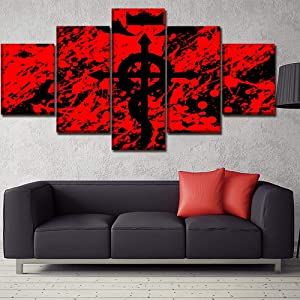 SDFGHY Canvas Wall Art 5 Pieces Anime Full Metal Alchemist Posters Painting Decor Artwork Canvas Art Mural Pictures Wall Art for Bedroom Decoration Unframed (60inx32in)