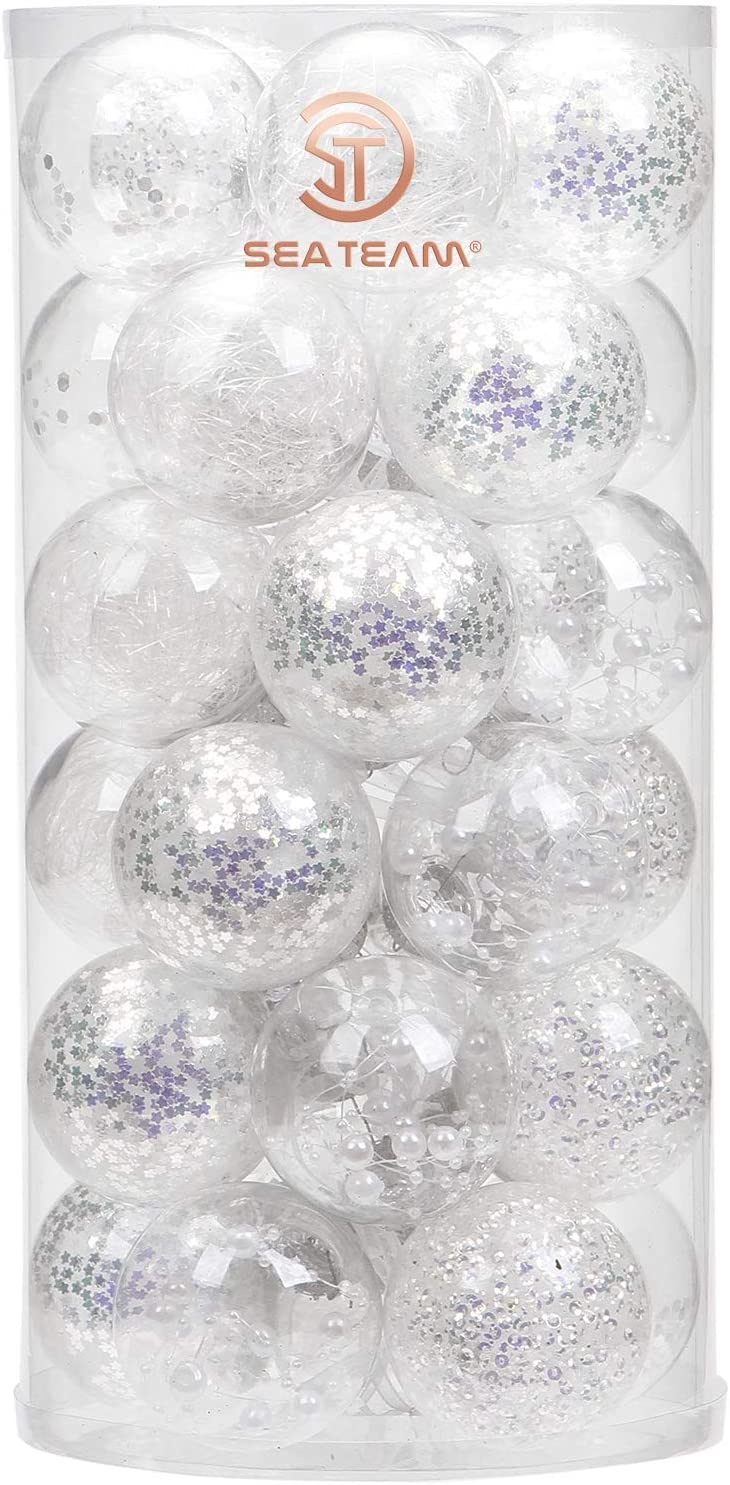 """Sea Team 60mm/2.36"""" Shatterproof Clear Plastic Christmas Ball Ornaments Decorative Xmas Balls Baubles Set with Stuffed Delicate Decorations (30 Counts, White)"""