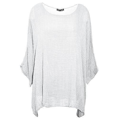 cb285dae57b Crazy Girls Womens Ladies Plain Italian Cotton Loose Fit Batwing Lagenlook  Kimono Top Plus Sizes UK