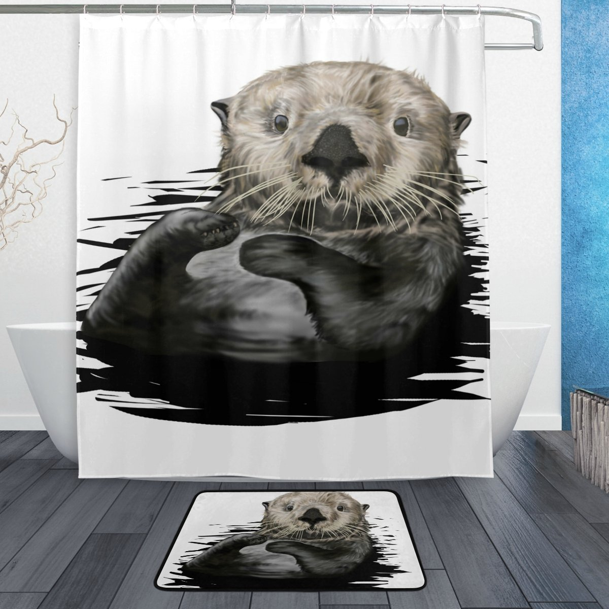 ALAZA Set of 2 Cute Otter Animal 60 X 72 Inches Shower Curtain and Mat Set, Black and White Waterproof Fabric Bathroom Curtain and Rug Set with Hooks