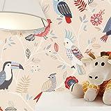 newroom per bambini carta da parati crema carta carta da parati bambini uccelli bella moderne e aspetto raffinato per bambini, ragazzi o ragazze, incluso tapezier Rat GEBER