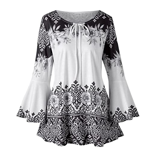a822202b01d965 TiTCool Womens Plus Size Floral Printed Flare Sleeve Tops Fashion Keyhole Lace  Up Blouse Tunic Shirts